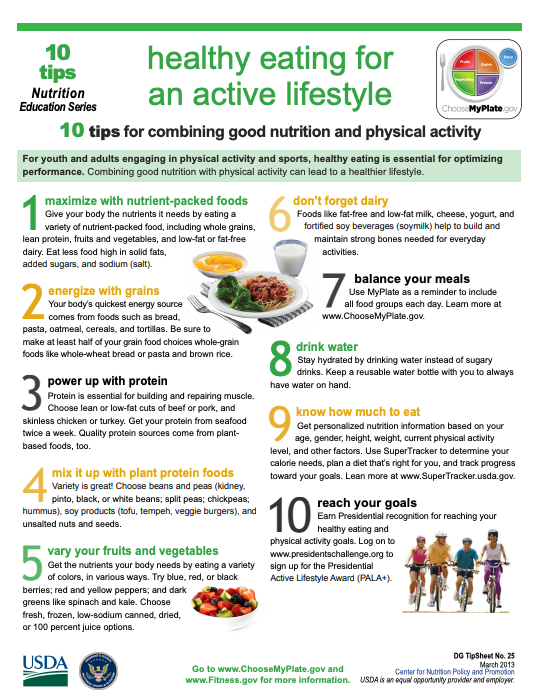 English Eating Healthy For An Active Lifestyle tip Sheet